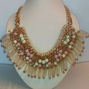 Statement Choker Necklace Pink/Ivory/Gold. Nwt